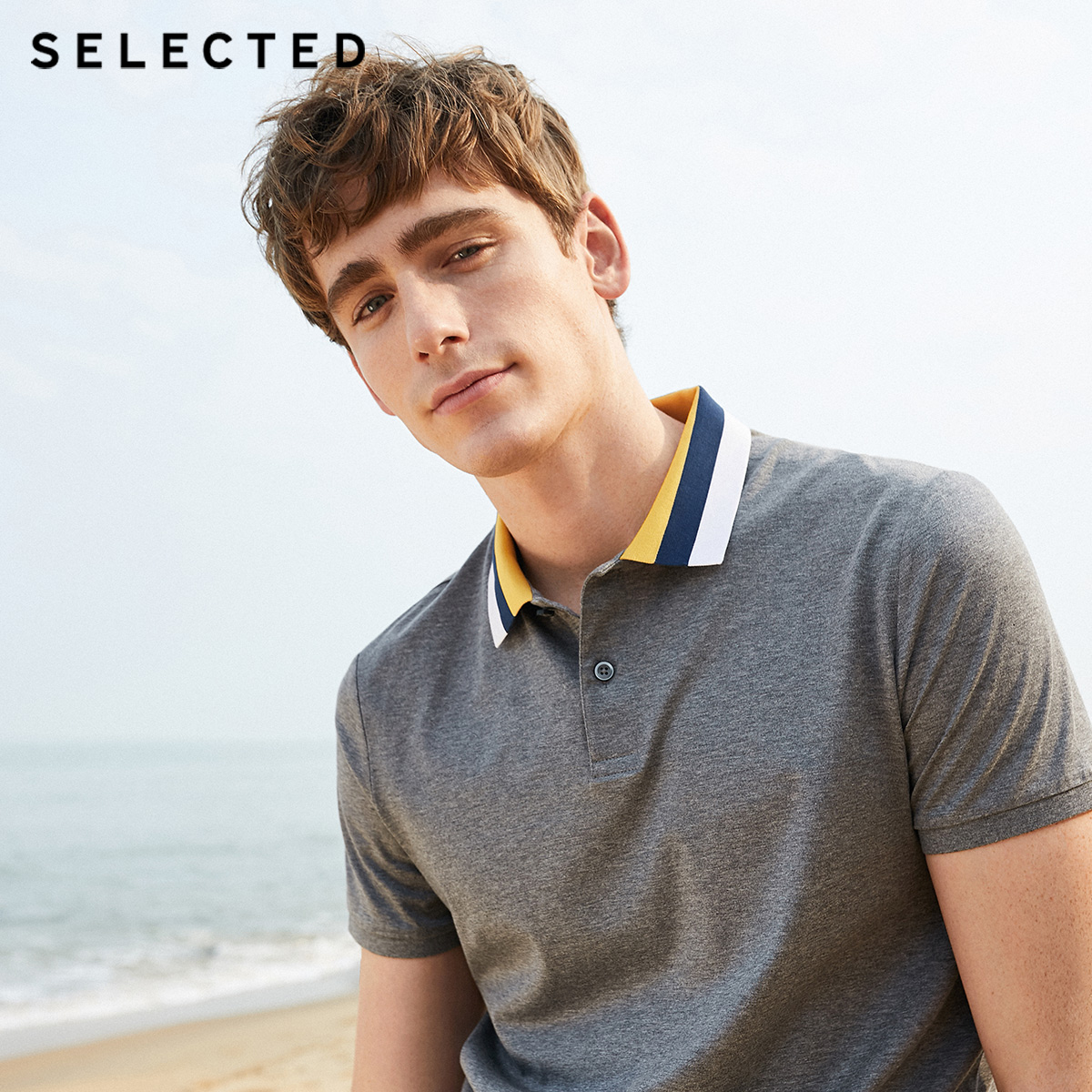 SELECTED Men's Summer 100% Cotton Contrasting Slim Fit Short-sleeved Poloshirt S|419206546