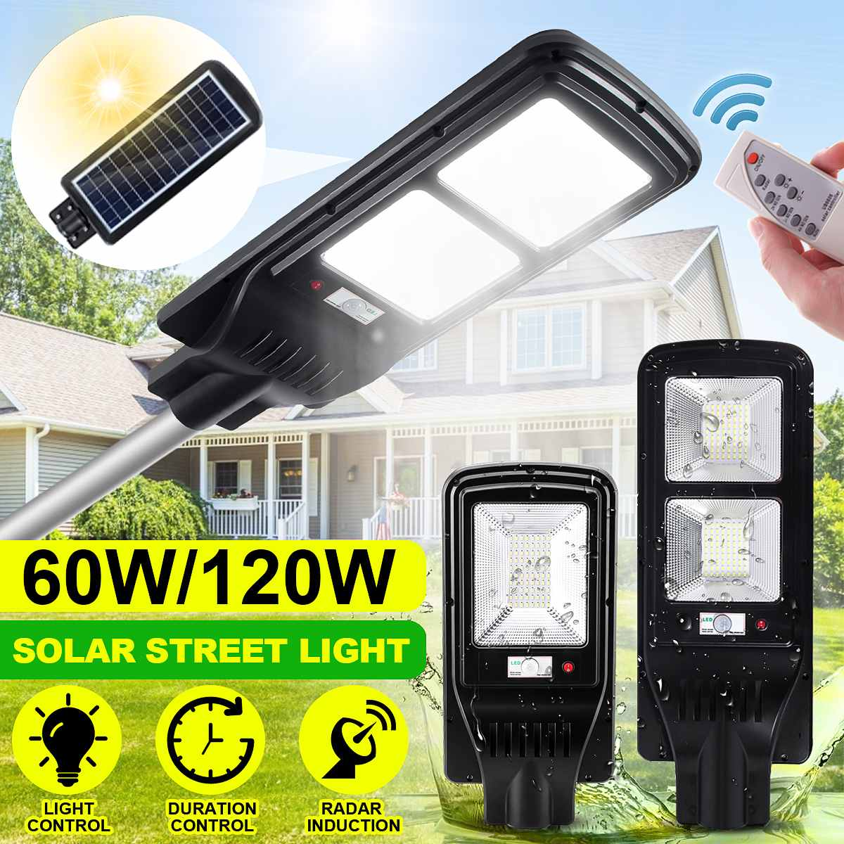 60W 120W LED Solar Street Lamp with Timer Remote Control PIR Radar Sensor Waterproof IP65 for Outdoor Garden and Villas Lighting