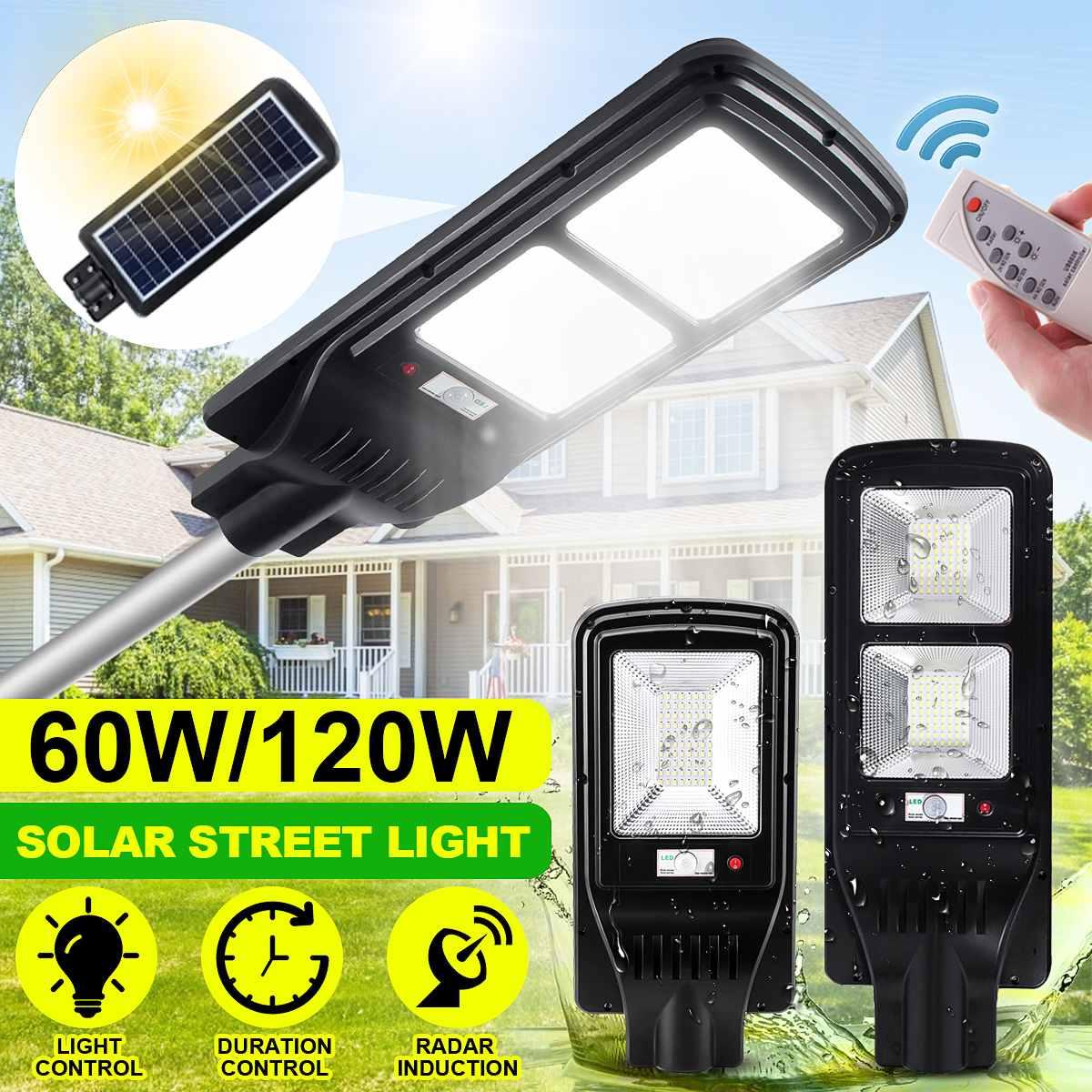 Foco Solar con Soporte y Sensor de Movimiento Farola Solar 120W Autonom/ía 8-15 Horas 4000K