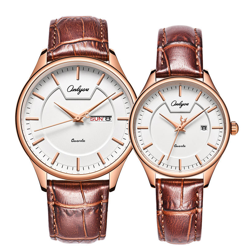 ONLYOU Fashion Couple Watches Young Men And Women Casual Simple Waterproof With Quartz Leather Belt Watch 81191