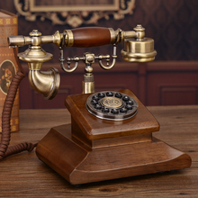Corded Telephone Classic Dial Hotel-Decoration Retro Home for Wooden