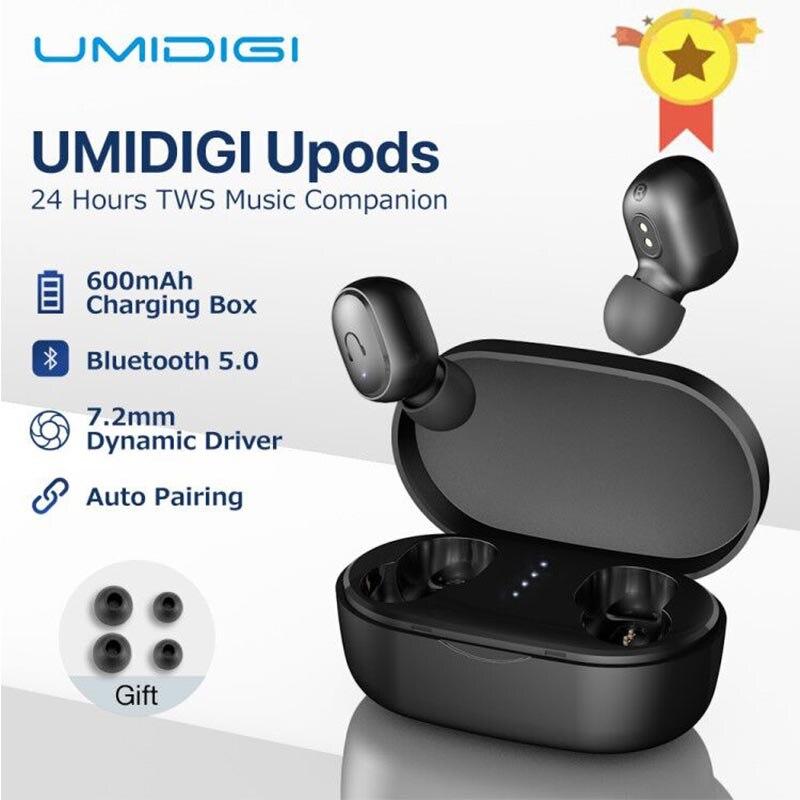 Umidigi upods tws fone de ouvido sem fio bluetooth 5.0 estéreo com microfone esportes noice redução com caixa carregamento auriculares