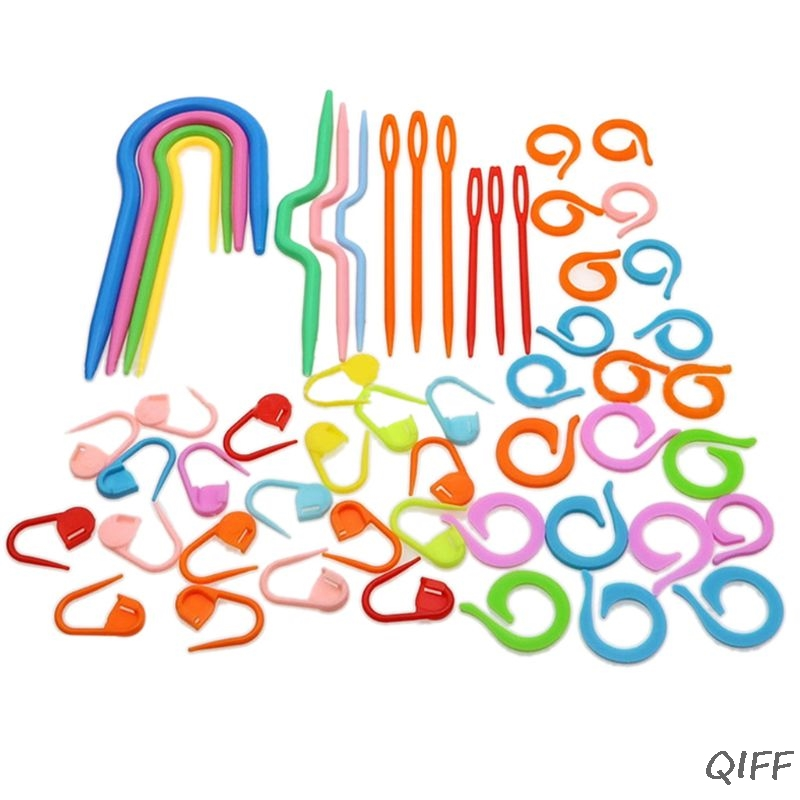 53Pcs Plastic Crochet Hooks Stitch Markers Counter Knitting Needles Tools Set