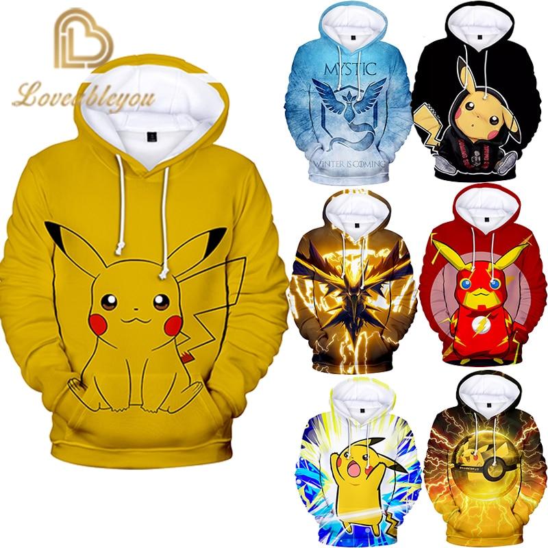 3D Cool Harajuku Style Pokemon Pikachu Hoodies Sweatshirt 2019 New High Quality Fashion Casual 2019 New Trend Casual Sweatshirt