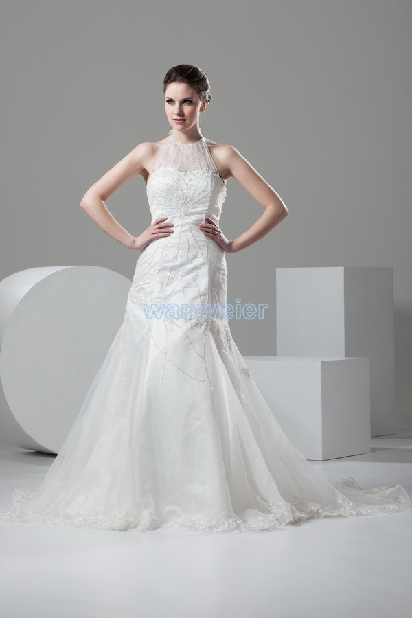 Free Shipping 2017 Hot Sale Custom Brides Bridal Gown Organza Beading Appliques Halter Mermaid Wedding Dress Vestido De Noiva