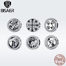 цена на BISAER New 925 Sterling Silver Best Family Childhood Love Lucky Four leaf Cute Footprint Charms Beads DIY Jewelry Making GXC1184