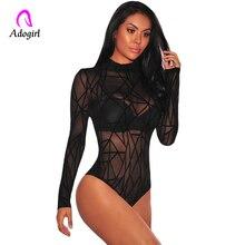 купить Women See Through Bodysuit Long Sleeve Women Winter Black Sheer Mesh Geometric Velvet Bodysuit Combinaison Femme Jumpsuit Romper онлайн