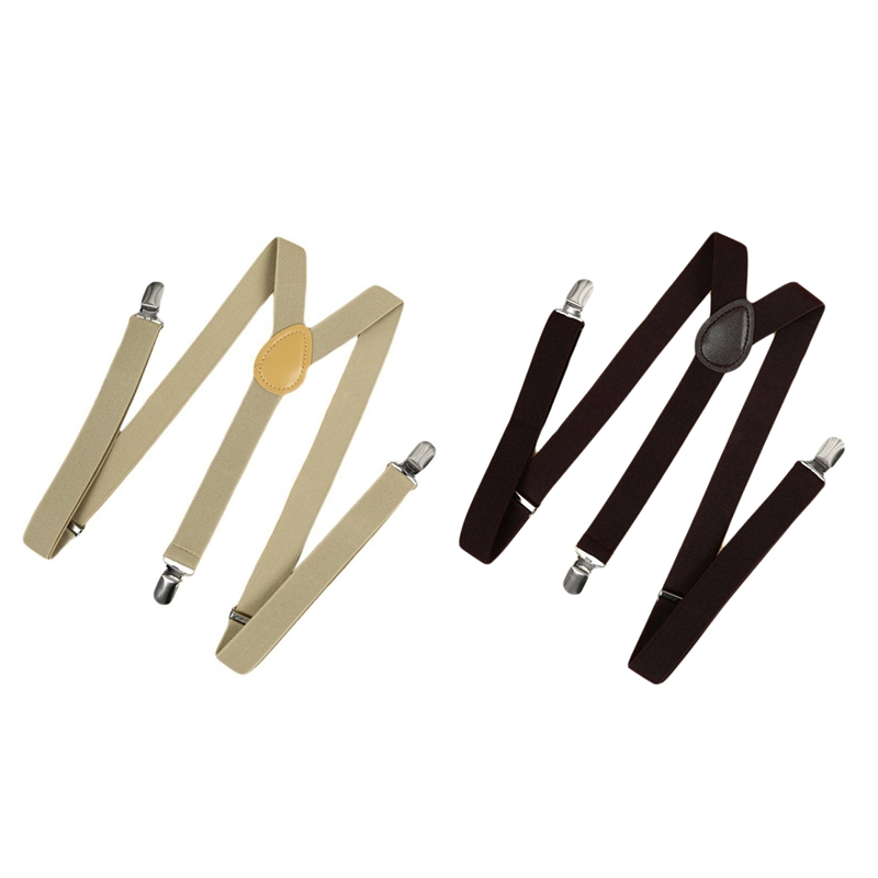 2Pcs Unisex Clip On Suspender Elastic Y-Shape Back Formal Adjustable Braces - Khaki & Coffee