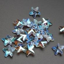 14mm 10 adet/grup kristal cam denizyıldızı gevşek boncuk gökkuşağı renk deniz yıldız boncuk kolye DIY el yapımı takı küpe yapma