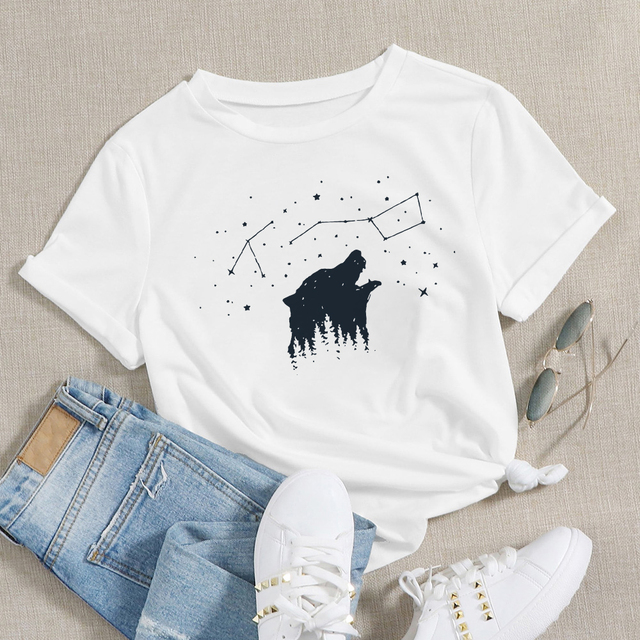 Купить модная креативная женская рубашка с изображением леса медведем