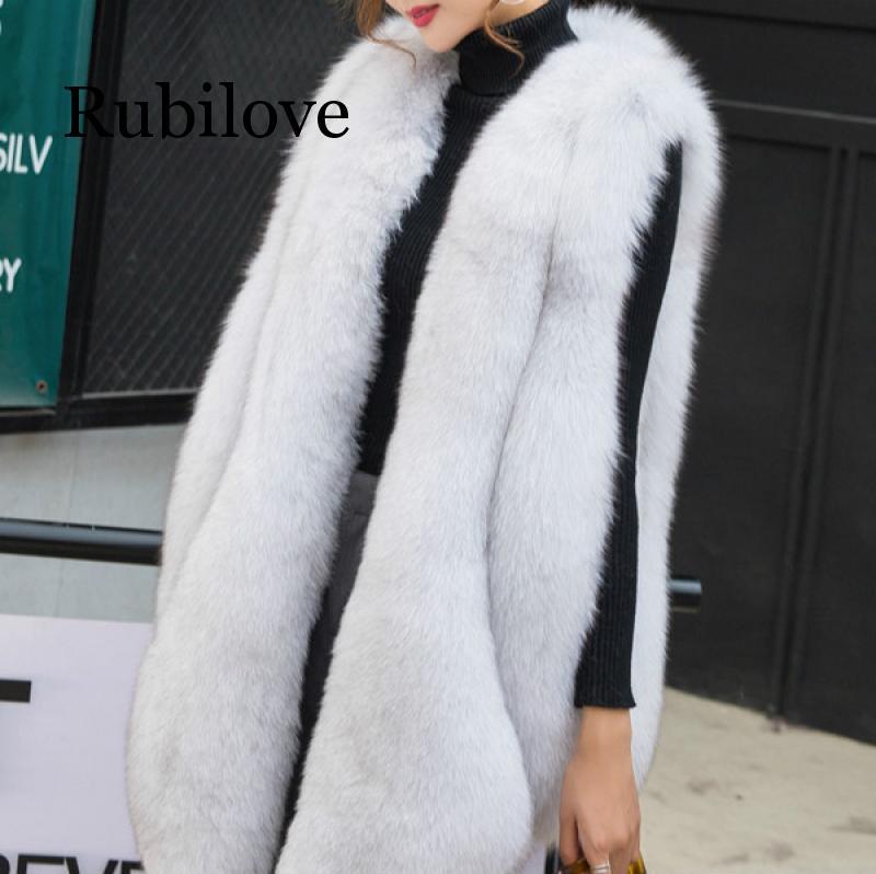 NEW Designer Winter Faux Fur Vest Women Faux Fur Gilet Plus Size Furry Fur Coat Manteau Fourrure Femme