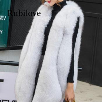 NEW Designer Winter Faux Fur Vest Women Faux Fur Gilet Plus Size Furry Fur Coat manteau fourrure femme duoupa 2019 new fashion faux fur grain velvet coat coat long loose fur one coat faux fur large size women s fur windbreaker jack