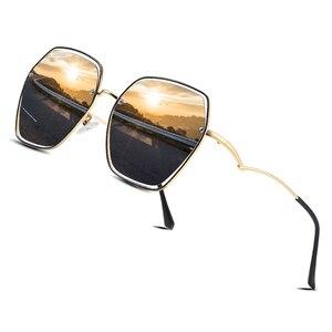 Image 1 - AOFLY BRAND Polarized Sunglasses Women Metal Frame Luxury Female Designer Oversized Square Sunglasses For Ladies Goggle UV400