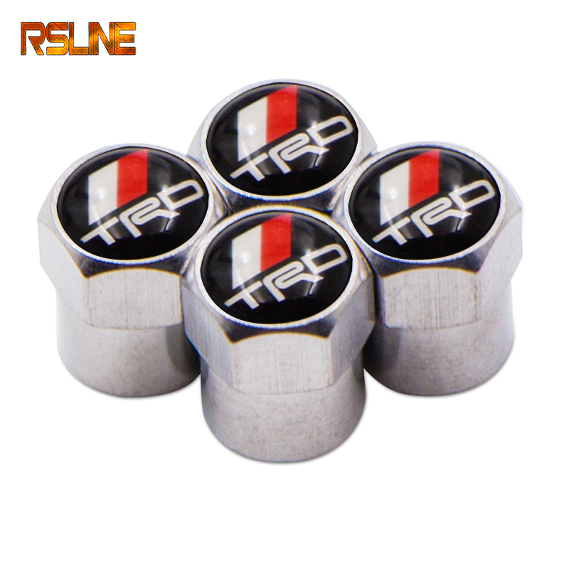 4PCS Car Wheel Tire Valve Stem Caps Waterproof Cover For Toyota TRD Corolla Rav4 Camry Avensis CHR Car Accessories Car Styling