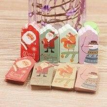50 шт./лот, белые/крафт-печатные этикетки для подарков на Рождество и год для торта на день рождения, вечерние этикетки для одежды