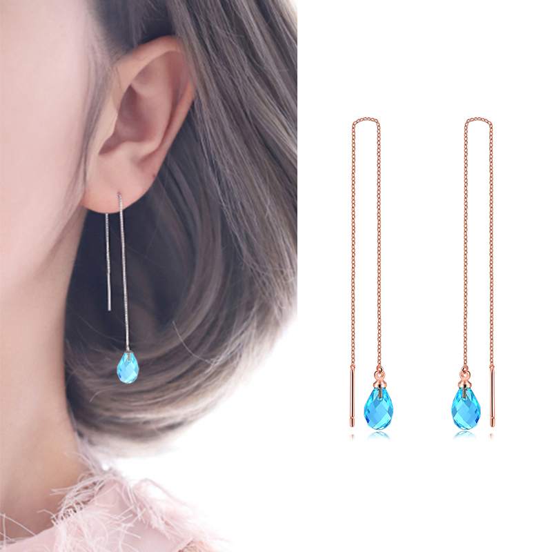 Double Fair Chain Long Dangle Drop Earrings For Women Girls Female Crystal Tassel Ear Jewelry Making HotSale DFKC158M