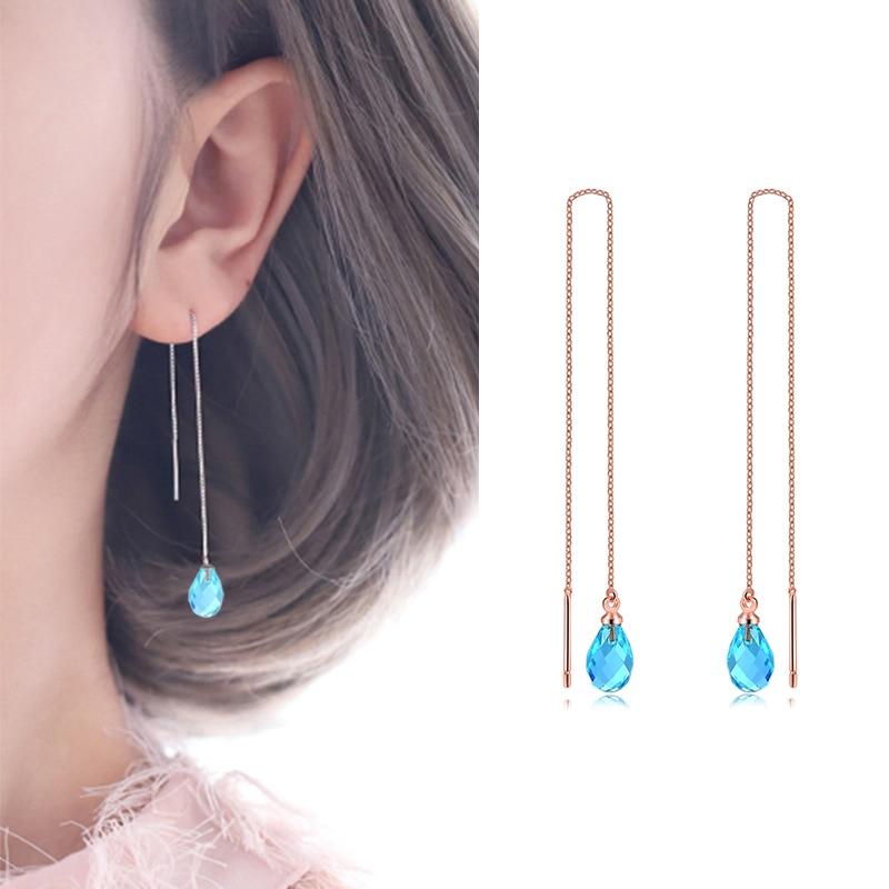 Double Fair Chain Long Dangle Drop Earrings For Women Girls Female Crystal Tassel Ear Jewelry Making HotSale DFKC158M