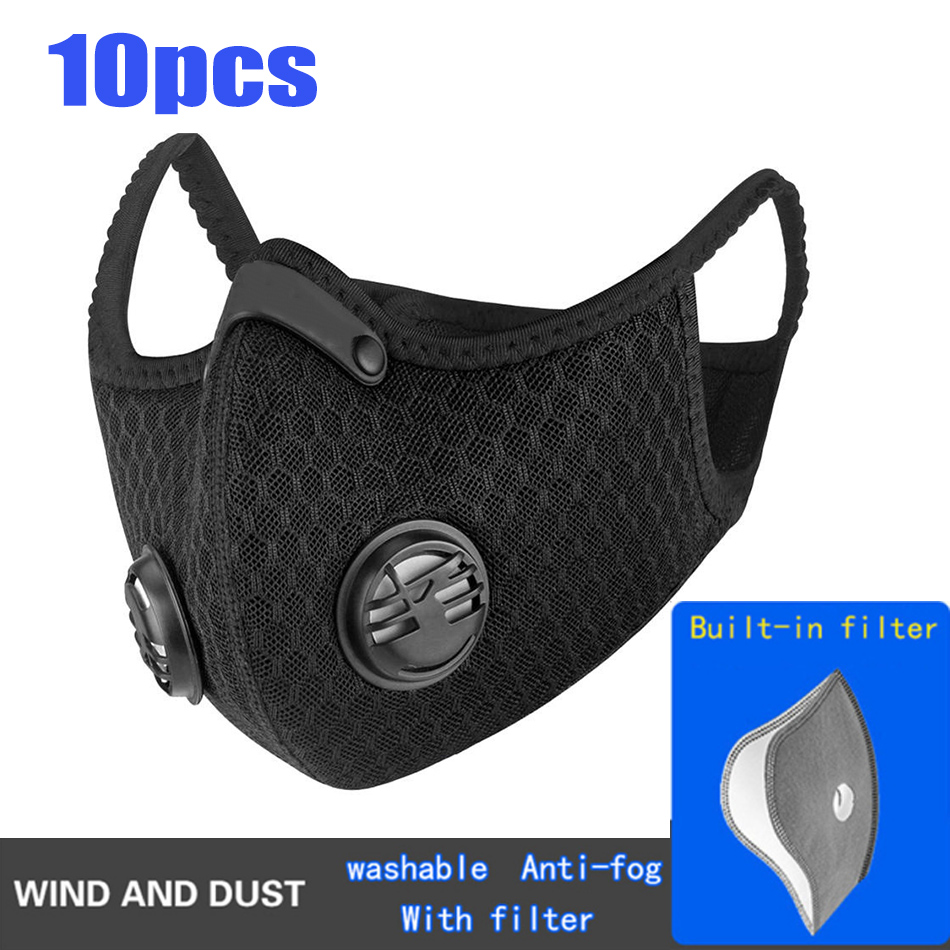 1/5/10/50pcs Cycling Mask With Filter Sport Training Bike Facemask Protective Cycling Mask Activated Carbon Anti-Pollution