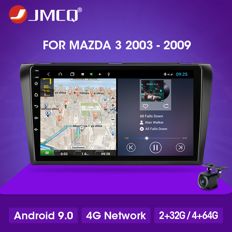JMCQ Android Car Radio <font><b>GPS</b></font> <font><b>Navigation</b></font> Auto Stereo for <font><b>Mazda</b></font> <font><b>3</b></font> 2003-2009 Multimedia Video Player 2 din DSP 4G+64G Touch Screen image