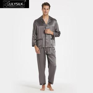 Image 1 - LilySilk 100 Silk Pajamas Set Men Long 22 momme Luxury Natural Mulberry Silk Mens Clothing Free Shipping