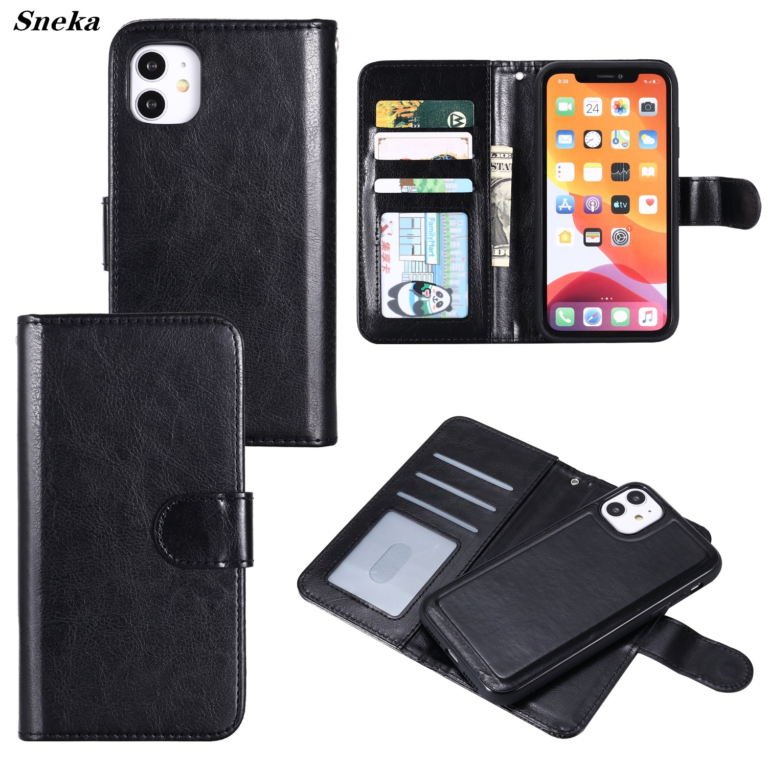 Leather Coque for iPhone 12 11 Pro Max XR X XS SE 2020 7 8 Plus Case Luxury Flip Wallet Phone Bag Magnetic 2in1 Detachable Cover image