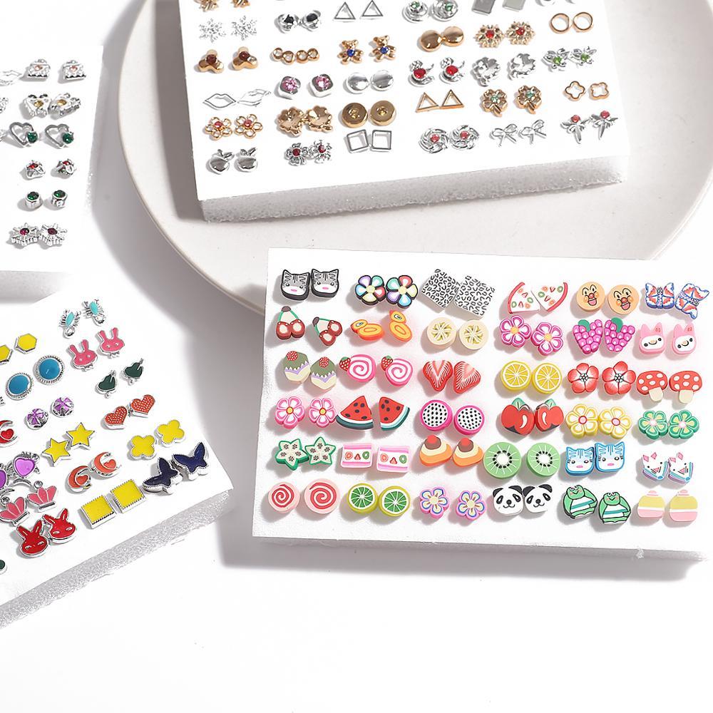 Conjunto de brincos para mulheres, 18/36/100 pares estilos mistas strass flor geométrico de cristal de plástico joias para meninas