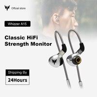 Tüketici Elektroniği'ten Kulaklıklar'de Whizzer A15 HiFi bas kulaklık Metal kulak kulaklık dinamik hi res kulaklık MMCX konnektörü ile 3.5mm kablolu bas kulaklık