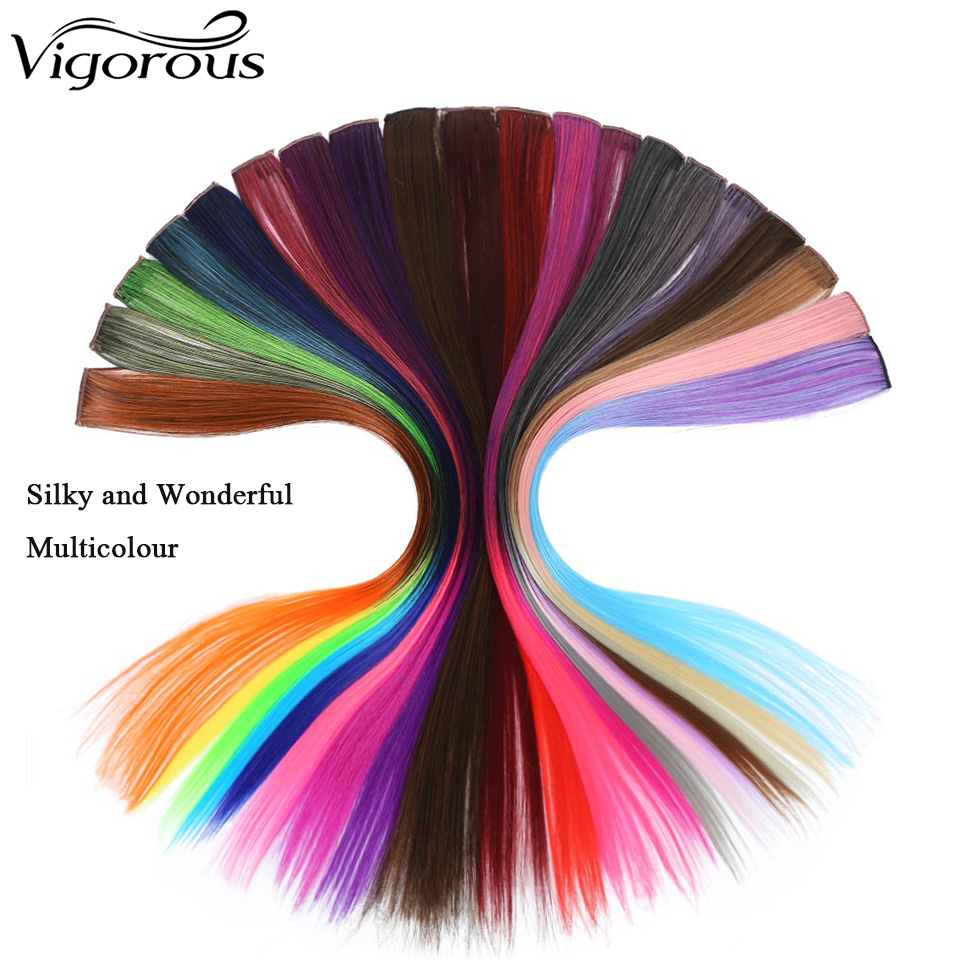 Vigorous Long Colorful Straight Synthetic Punk Style Hair Extension Clip 38 Colors Pink Ombre Green Black
