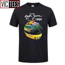 Männer der Ayrton Senna Helm T Shirts 1 Rennen 1989 Männer Baumwolle T-shirts Für Verkauf T-Shirt Freies Verschiffen