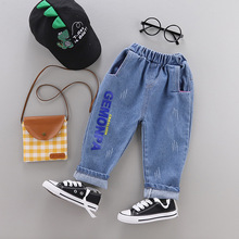 2019 children childrens wear new jeans trousers male boy printing in the spring and autumn outfit baby cotton panties
