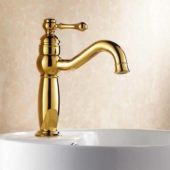 Vidric Basin Faucet Gold Brass Bathroom Sink Faucet Single Handle Hole Deck Vintage Wash Faucet Hot Cold Mixer Tap Crane