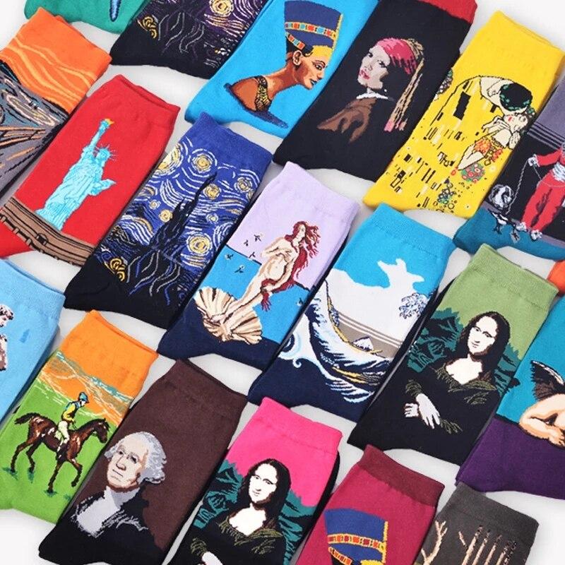 Warm Unisex Happy Funny Socks Women Men Cotton Harajuku Classic Van Gogh Mona Lisa Print Art Socks Hip Hop Street Style Autumn Winter