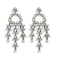 цена на 1pair Full Crystal Geometric Long Dangle Earrings For Women Alloy Drop Earings Party Statement Jewelry Accessories