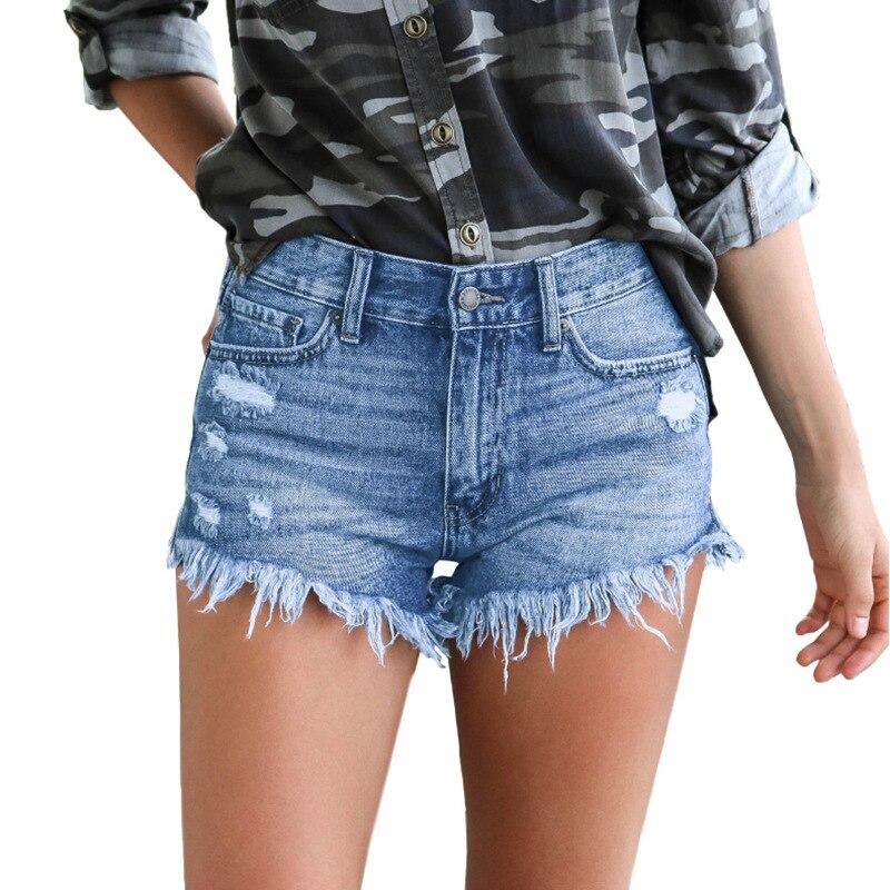 Short en jean jean court femme jambe large taille élastique Vintage taille haute Short femme été