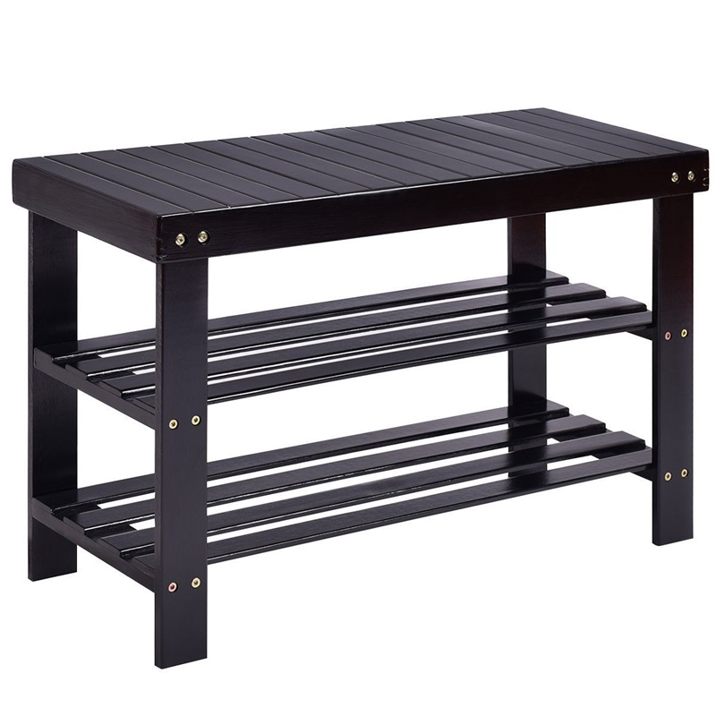 3 Tiers Bamboo Bench Storage Shoe Shelf Modern High Quality Shoe Cabinet Rack Organizer HW55409