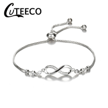 Cuteeco Luxurious Crystal Bracelet Silver Color Adjustable Infinity Charm Brand Bracelets for Women Fashion Jewelry Dropshipping