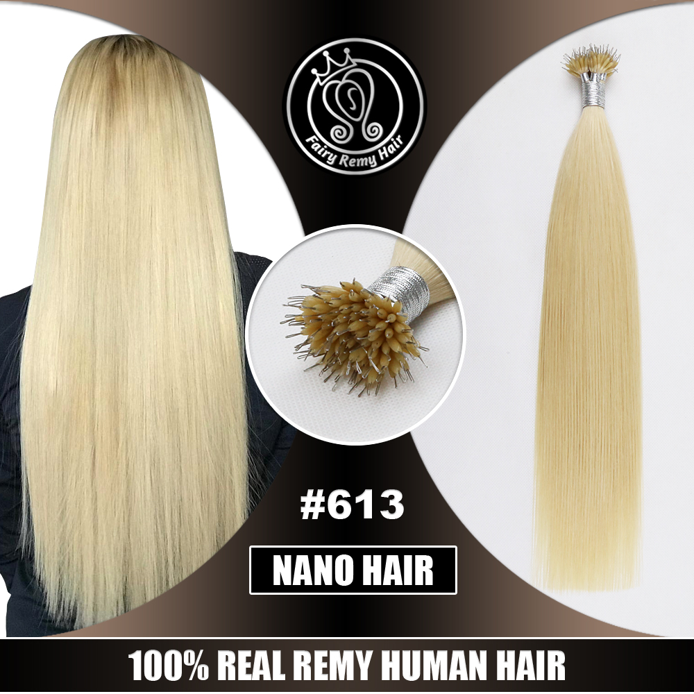 Nano Ring Hair Extensions Micro Beads Real Remy Russian Human Hair Lightest Bleach Blonde #613 0.8g/s 16