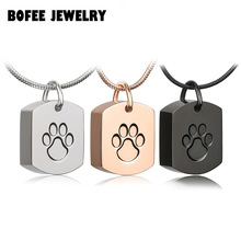 BOFEE Pet Paw Ash Holder Necklace 361L Stainless Steel Urn Cremation Memorial Pendant Jewelry Gift For Women Men