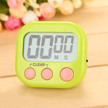 1x Magnetic Kitchen Timer Countdown LCD Digital Stopwatch Mini Practical Cooking Timer Alarm Clock White Blue Pink