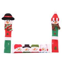 Набор из 3 предметов, ручка холодильника, рождественские крышки для микроволновой печи, посудомоечной машины, дверные ручки, рождественские украшения для дома