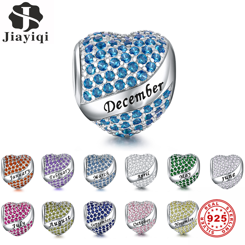 Jiayiqi Birthday Month Charms 925 Sterling Silver Heart-Shaped CZ Beads Fit Pandora Charms Silver 925 Original DIY Jewelry Gift(China)