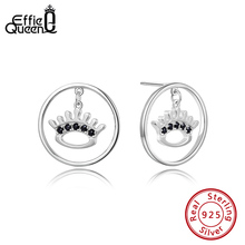 Effie Queen Real 925 Sterling Silver Crystal Stud Earrings For Women Crown Classic AAAA Zircon Earring  Jewelry Party BE173