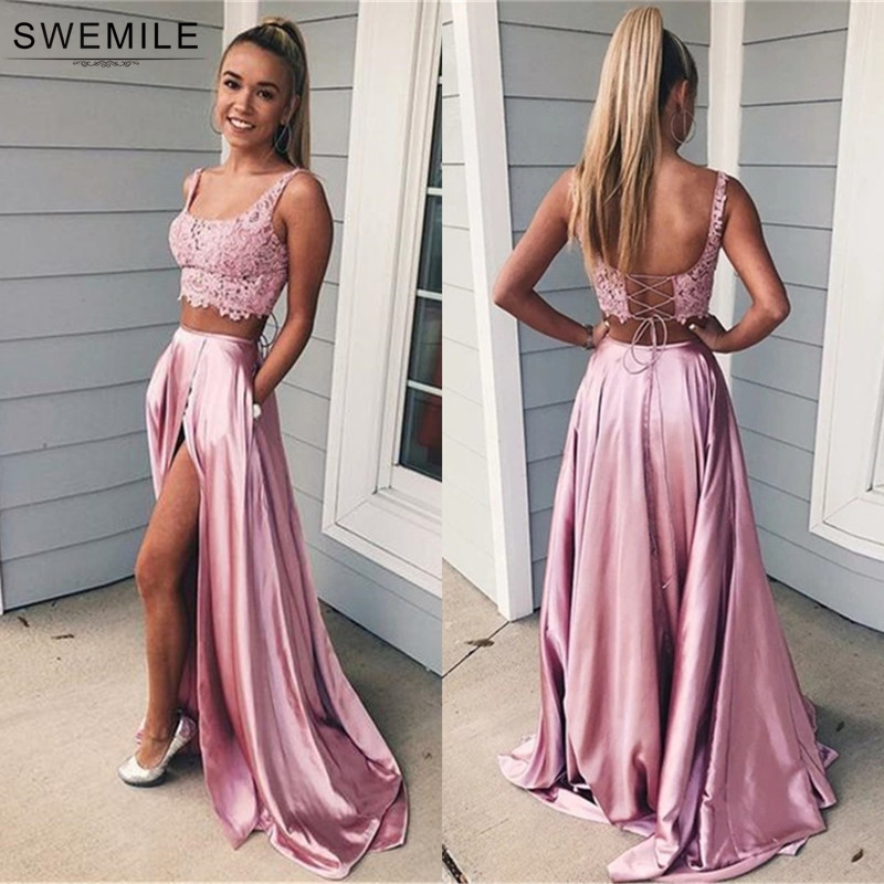 Bestidos De Gala Blush Pink Two Piece Lace Prom Dresses Long 2019 Lace Up Back Satin Long Party Dresses Vestido De Festa Longo