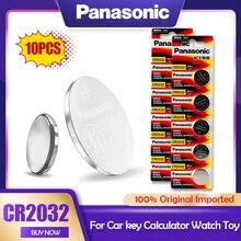 10 pçs original panasonic 3v cr2032 cr 2032 bateria de lítio para relógio calculadora brinquedo eletrônico escala botão controle remoto célula