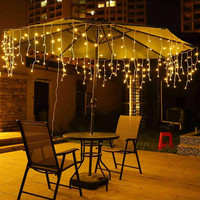 3.5M 96 Leds perde icicle dize ışıkları veranda Led noel ışıkları açık dekorasyon düğün parti yeni yıl ab/abd|LED Şerit|   -