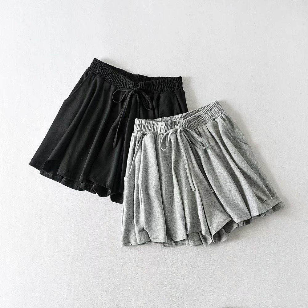 Shorts Women Fashion Casual High  Gray Waist Pocket With Sashes  Khaki Trouser Hrarjuku Autumn  Black