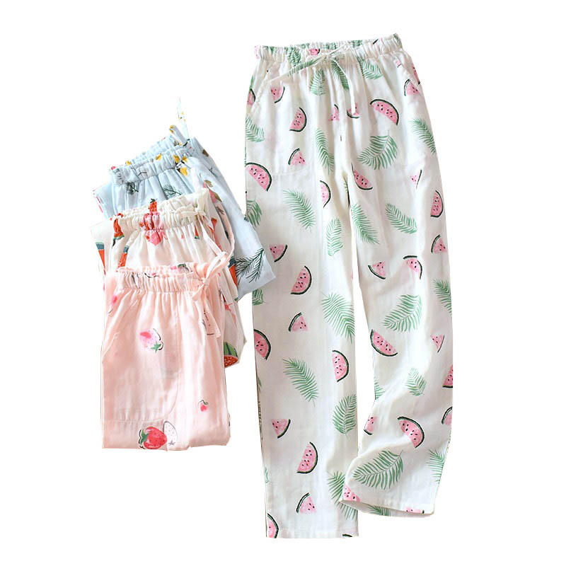 Spring And Summer Ladies Sleep Pants Sweet Strawberry Printed Sleep Bottom Women Comfort Gauze Cotton Loose Thin Homewear Pants
