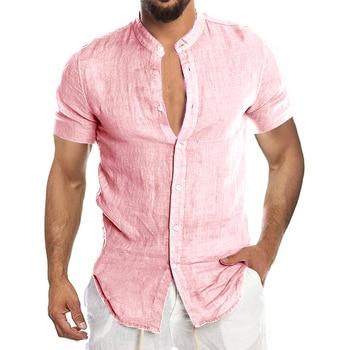 Men's New Summer Casual Cotton Linen Short Sleeve Button Down Shirt For Man Casual Shirts Cotton Shirts Long Sleeve Men Print Shirts Shirts & Tops Slim Fit Summer Shirts T-Shirts Work Shirts Color: Short-Pink Size: European Size XXL
