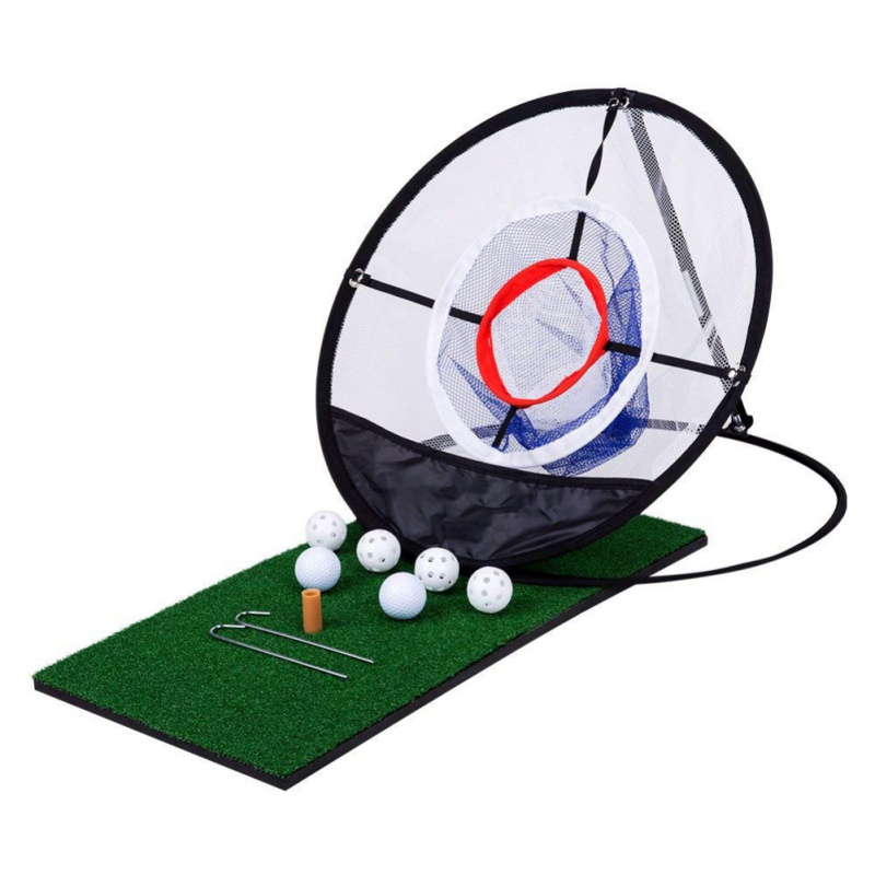Wonderful! Indoor Outdoor Chipping Pitching Cages Mats Practice Easy Net Golf Training Aids Metal + Net
