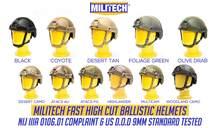 Militech balistyczny kask NIJ poziom IIIA 3A certyfikat ISO szybki OCC Dial wysokie cięcie XP Cut aramidowy kuloodporny kask